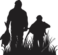 Father And Son Deer Hunting Silhouette