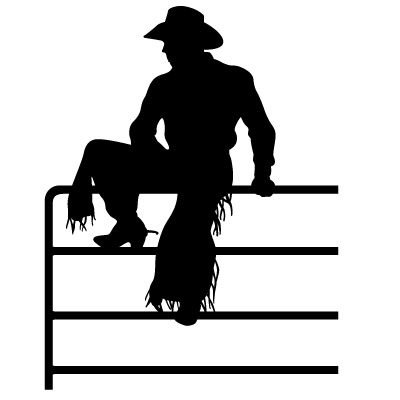 Cowboy Sitting On Fence Western Decal 14