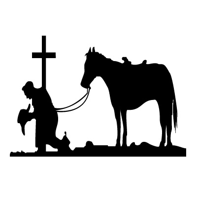 Cowboy Cross Horse Western Decal 16